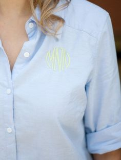 Monogrammed Oxford Shirt- everything looks better with a few letters! www.toochicgifts.com