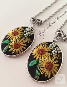 Brazil embroidery handmade necklace is a wonderful. Etamin pendant models of brazil embroidery / rococo embroidered ones are another beautiful. Embroidery Jewelry, Embroidery Hoop Art, Hand Embroidery Patterns, Vintage Embroidery, Ribbon Embroidery, Embroidery Stitches, Hungarian Embroidery, Fabric Jewelry, Handmade Necklaces