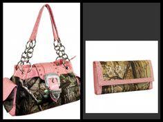 Pink Realtree Camoflauge Camo Rhinestone Buckle Handbag Wallet SET | eBay