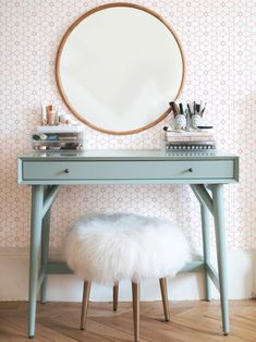 If you love makeup, then you need a makeup vanity table. A vanity table will keep all your makeup organized and will give you a comfortable place to apply it. You can create a makeup area that suits your style. New Room, Floating Shelves, Floating Vanity, Bedroom Decor, Bedroom Wall, Bedroom Ideas, Bedroom Furniture, Furniture Sets, Mirror Bedroom