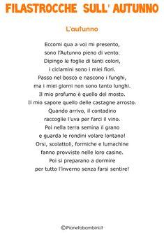 30 Filastrocche sull'Autunno per Bambini   PianetaBambini.it Nursery School, Autumn Crafts, Italian Language, Kids Education, Primary School, Falling In Love, Homeschool, Classroom, Songs
