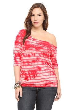 Twist Tees - Red Tie-Dye Burnout Stripes Off-The-Shoulder Tee