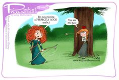 Pocket princesses 240: Misfire (Merida has matured a lot since strip number 64 ;)) Please reblog, don't repost, edit or remove captions