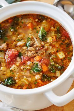 Italian Vegetable Soup with Spicy Sausage and GnocchiYou can find Italian sausage soup and more on our website.Italian Vegetable Soup with Spicy Sausage and Gnocchi Italian Vegetable Soup, Italian Sausage Soup, Italian Vegetables, Spicy Sausage, Ground Italian Sausage Recipes, Vegetable Soups, Recipes With Hot Sausage, Italian Gnocchi, Healthy Vegetables