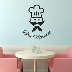 Our Bon Appetit kitchen wall sticker features a cartoon chef. A fun addition that brings some French sophistictaion to your home. A great gift for a foodie!
