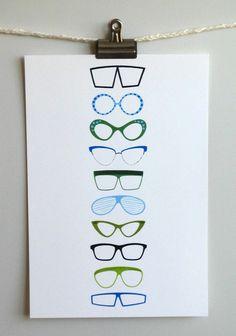 Eyeglasses 13 x 19 print by Ali Douglss, $40 on Etsy