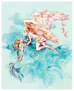 """""""A bird may love a fish, but where would they live?"""" """"Star-cross'd Lovers"""" by alicexz on deviantart."""