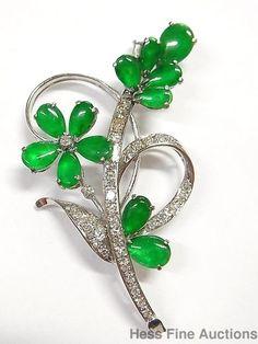 Fine Jadeite Diamond 18k White Gold 1950s Green Jade Vintage Spray Pin Brooch