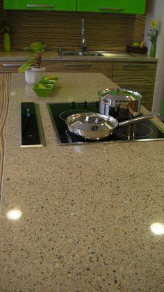 Crystal Sahara worktop by Technistone #Technistone #kitchen #worktops #citrus