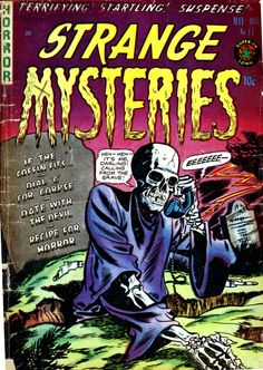 "Comic Book Cover For Strange Mysteries #11 - ""It's me, Darling!  Calling from the grave!"""
