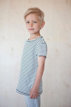 Natural white/dark blue striped t-shirt. Boy Fashion, Fashion Photo, Boy Models, Face Claims, Little Man, Kids And Parenting, Blue Stripes, Studio, Boys