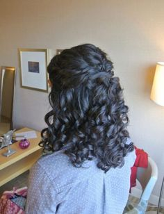 Half-up naturally curly style wedding hair formal hair bridesmaid hair prom hair. Hair by Christy: Simply Captivating On-Site Beauty Services PG Curly Bridal Hair, Bridesmaid Hair Curly, Curly Prom Hair, Curly Hair Styles, Bridal Updo, Formal Hairstyles, Easy Hairstyles, Pretty Hairstyles, Wedding Hairstyles For Curly Hair