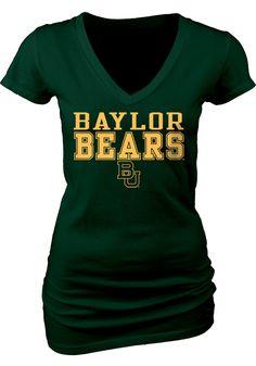 Baylor Bears Womens Green My Team V-Neck T-Shirt NEW