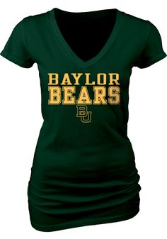 Baylor Bears Womens Green My Team V-Neck T-Shirt NEW