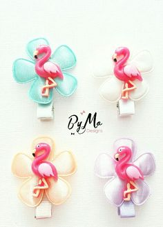 Alligator clips with flamingo. Per piece