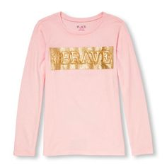 d7da87293b Girls Long Sleeve   Brave  Glitter Graphic Tee Children s Place