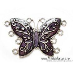 Pandativ/link fluture argintiu cu mov, dimensiuni 70x42x2.5, orificii 3 mm, cantitate 1 buc Brooch, Charmed, Jewelry, Jewlery, Jewerly, Brooches, Schmuck, Jewels, Jewelery