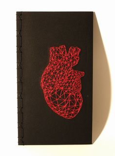 Hand Embroidered Japanese Notebook with Black Pages / Red Heart Anatomy