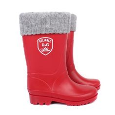 Red wellies with knit trim