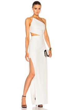Michelle Mason Asymmetrical Bandeau Gown in Ivory - Reception Gala Dresses, Dance Dresses, Sexy Dresses, Fashion Dresses, Formal Dresses, Simple Dresses, Pretty Dresses, Beautiful Dresses, White Evening Gowns