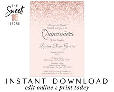 Check out our quinceanera invitation printable selection for the very best in unique or custom, handmade pieces from our invitations & announcements shops. Paris Invitations, Quince Invitations, Sweet Sixteen Invitations, Quinceanera Invitations, Quinceanera Party, Satin Roses, Blush Roses, Blush Pink, Mauve