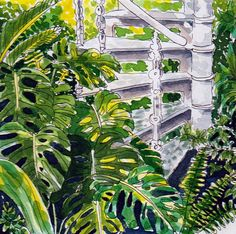 Original Watercolour Painting - Tropical Palm House Stairs with leaves, available at my Etsy shop. Sept 2017.