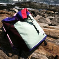 My KnappSack by Buck products on the rocks of Peaks Island. Boodge makes a great sack, git one!