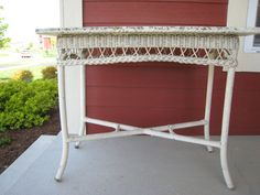 Furniture for Sun Room.....   Antique Wicker Table Library Table 1910s