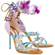 Sophia Webster Harmony metallic butterfly leather sandals ($740) ❤ liked on Polyvore featuring shoes, sandals, metallic strappy sandals, stiletto sandals, strap sandals, high heel sandals and strappy leather sandals