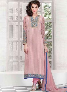 Pink Embroidery Work Georgette Chiffon Designer Churidar Suit http://www.angelnx.com/Salwar-Kameez/Churidar-Suits