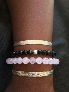 Rose Quartz Sterling Silver Bracelet.