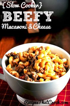 Beefy Mac and Cheese {Slow Cooker} - Recipes That Crock! 1 lb Browned Ground Beef 1 15 oz Can Red Gold Diced Tomatoes with Basil, Garlic and Oregano 10 3/4 Can Cream of Mushroom Soup 1 1/2 oz Cheese Sauce Mix (I used an Alfredo Mix) 2 Tblsp Tomato Paste 1 Cup Shredded Cheddar Cheese 8 oz Pkg Elbow Macaroni- Cooked