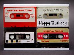 Birthday Card for man, retro Birthday Card, cassette, MC, 80ies
