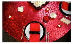 2 SETS 120 Red Sequin Table Linen Red Sequin by BlingFlingBoutique, $199.00