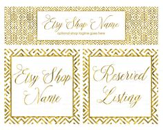 ON SALE - Etsy Cover Photo - Gold Etsy Shop Covers -  Gold Etsy Covers - 3  Piece Etsy Shop Cover Set - Gold 2-16 by RhondaJai on Etsy