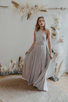 Long Dress Silver — We Are Flowergirls Bridesmaid Outfit, Bridesmaids, Convertible Dress, Long Jumpsuits, Silver Dress, Jumpsuit Dress, Slow Fashion, Formal Dresses, Wedding Dresses