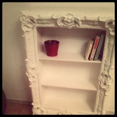 DIY bookshelves project turn old frame into bookcase
