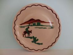 Southwestern-Adobe-home-donkey-w-rider-airbrushed-10-plate-by-Wallace-China
