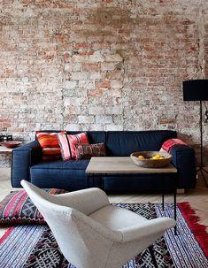 Pin de g r a c e em future home charcoal sofa, blue couches e exposed brick walls. Home Living Room, Living Room Decor, Living Spaces, Decor Room, Home Interior, Interior Decorating, Brick Interior, Decorating Ideas, Charcoal Sofa