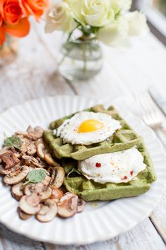 Spinach Waffles with Fried Eggs and Mushrooms