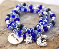 Blue Dream Beaded Stretch Bracelet Charms Blue by TheBadCatBeadery, $36.00