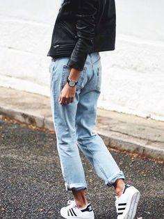 Denim, leather and adidas sneakers | HarperandHarley