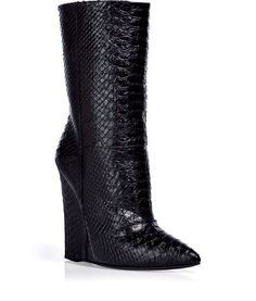 Giuseppe Zanotti Black Python Embossed Wedge Booties