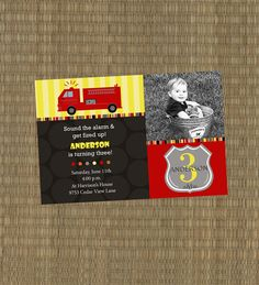 Items similar to Printable Fire truck Birthday Invitation - Sound the Alarm Fire Truck Invitation, fireman on Etsy Fireman Birthday, Fireman Party, Mario Birthday Party, 4th Birthday Parties, 3rd Birthday, Birthday Ideas, Fireman Sam, Birthday Invitations Kids, Party Entertainment
