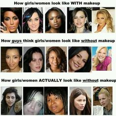 Celebrities -- With & Without Makeup [whoa, Katie Perry!]