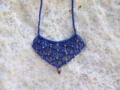 Macrame Beaded Pendant - blue necklace, gipsy style, boho necklace, adjustable length. women fashion, micro macrame, brass beads!!