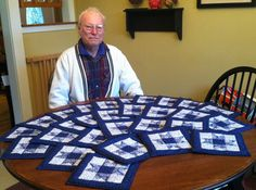 Dad (84 yrs) has just finished his first quilting project!  28 potholders for friends! Every one of them came out beautifully!  I'm so proud of him!  Nov 2013