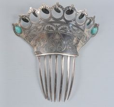 Antique Silver Engraved Hair Comb with Turquoise and Silver Bobbles