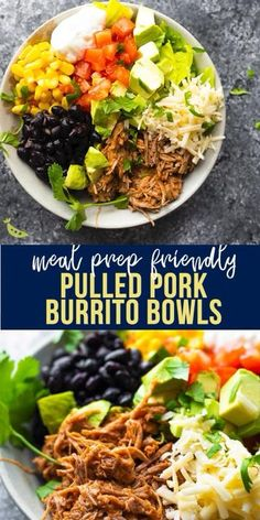 Pulled pork burrito bowls are packed with juicy pulled pork, avocado, cheese, tomatoes and so much more. Easy to prep ahead and assemble when you're ready to enjoy. Mexican Food Recipes, Dinner Recipes, Pulled Pork Recipes, Recipe With Pulled Pork, Healthy Pulled Pork, Pulled Pork Tacos, Pita, Dinner Bowls, Cooking Recipes