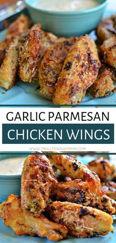 A fun fall treat, these Garlic Parmesan Chicken Wings are the perfect party appetizer, game day food, or tasty snack! They can be prepared with either fresh or frozen wings and are always a hit. Save this simple fall treat for later! Meat Appetizers, Appetizers For Party, Appetizer Recipes, Simple Appetizers, Dinner Recipes, Party Recipes, Baked Garlic Parmesan Chicken, Parmesan Recipes, Crispy Chicken Wings